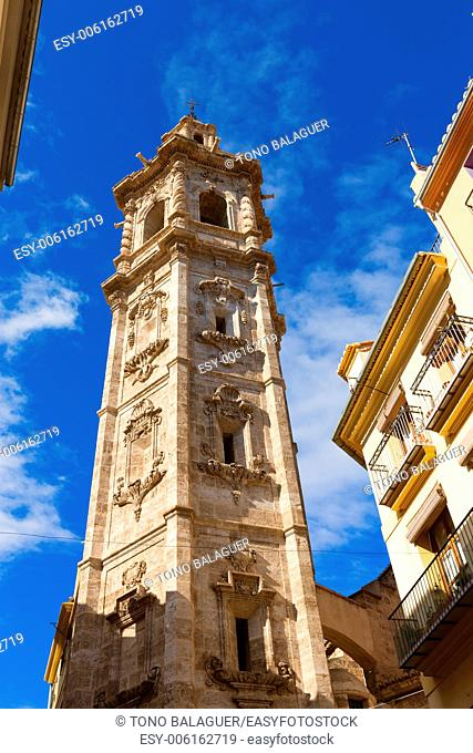 Valencia Santa Catalina church belfry tower in Spain