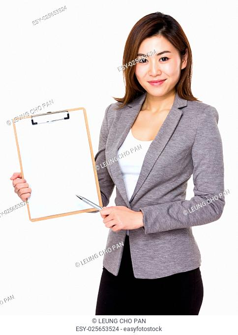 Young businesswoman pen point to clipboard