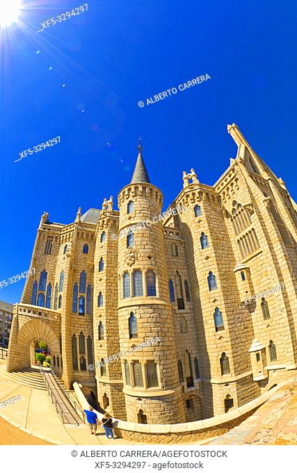 Episcopal Palace of Astorga, Palace of Gaudí, 19th Century Neogothic Style, Spanish Property of Cultural Interest, Astorga, León, Castilla y León, Spain, Europe