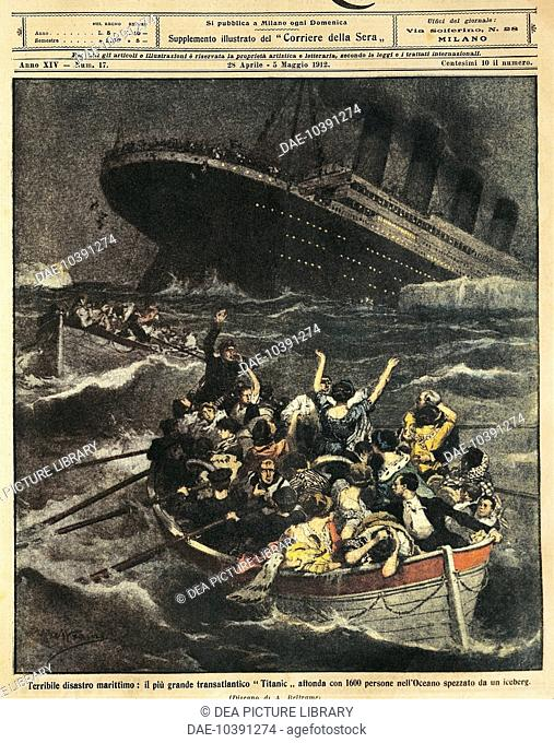 Great Britain - 20th century- Sinking of passenger liner Titanic. Cover illustration from La Domenica del Corriere Sunday supplement to daily newspaper Il...