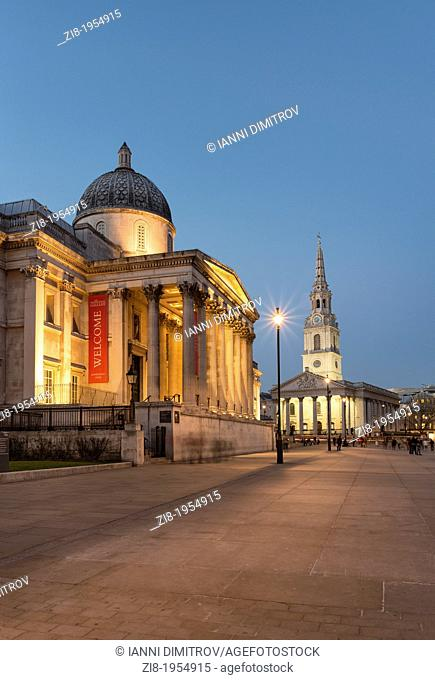 National Gallery and Saint Martins in the filds on Trafalgar Square at Night,London,England