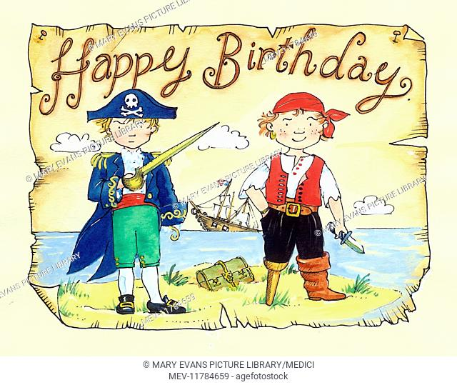 Pirate captain and one-legged pirate standing on an island, with ship sinking in the background, and 'Happy Birthday'