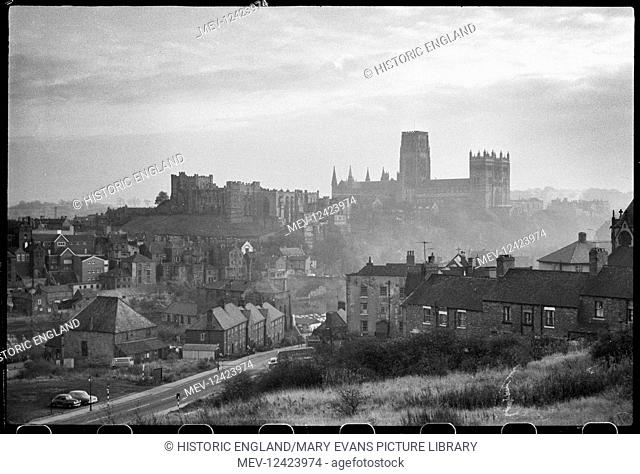 A general view of Durham overlooking the River Wear and Framwellgate Bridge, with Durham Castle to the left and the Cathedral Church in the background
