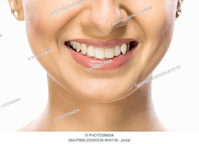Close-up of a fashion model smiling