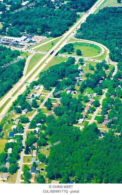 Aerial view of houses and roads, Indiana, USA