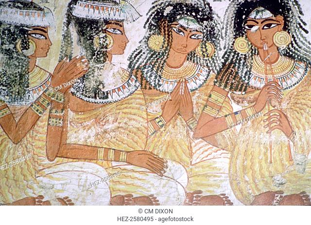 Egyptian wall-painting of musicians at a banquet from the tomb of Nebamun at Thebes