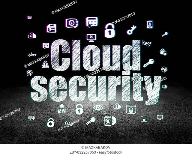 Safety concept: Glowing text Cloud Security, Hand Drawn Security Icons in grunge dark room with Dirty Floor, black background, 3d render