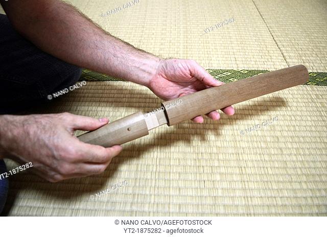 Japanese Sword Scabbard Koshirae Maker, Atsuhiro Morii, working at his workshop  Yokohama, Japan