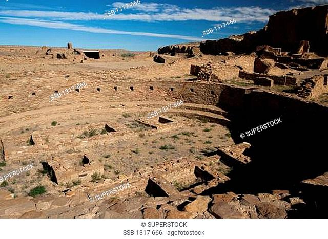 Ruins of buildings at an archaeological site, Chaco Culture National Historical Park, Chaco Canyon, New Mexico, USA