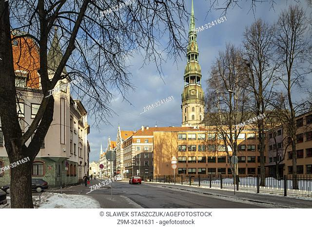 St Peter's church in Riga old town, Latvia