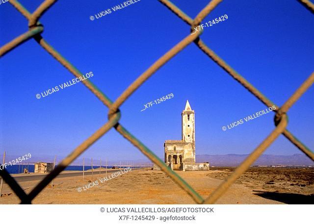 Almadraba de Montelba Church  Cabo de Gata-Nijar Natural Park  Biosphere Reserve, Almeria province, Andalucia, Spain