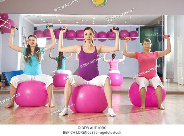 Pregnant women during exercising