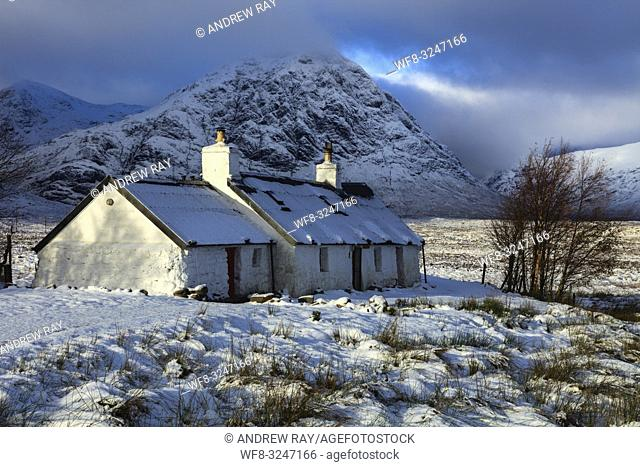 Black Rock Cottage on Rannoch Moor in the Scottish Highlands, captured on a morning in early November