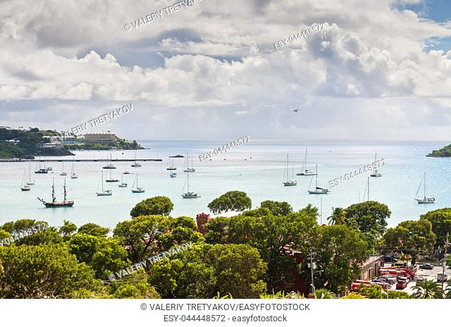 A view overlooking the beautiful skyline of St. Thomas harbor, US Virgin Islands