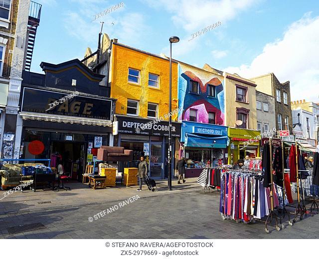 Shops front in Deptford High Street - London, England