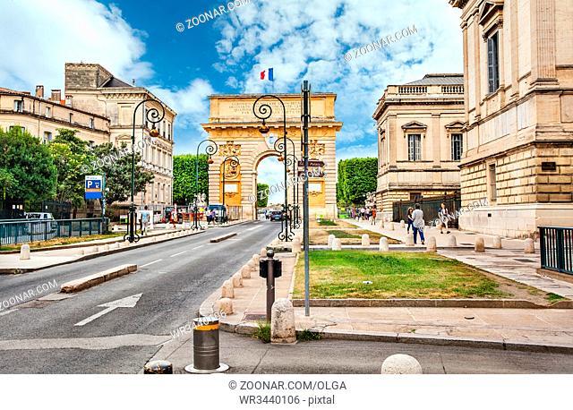 Montpellier, France - July 08, 2014: Triumphal arch Porte du Peyrou in Montpellier
