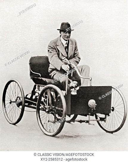 Two Early Automobiles,Henry Ford,1863-1947,Quadricycle HistoricalFindings Photo