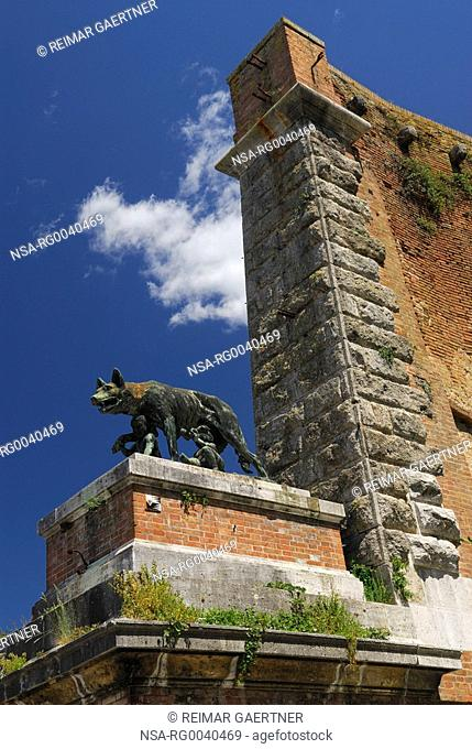 Statue of she wolf suckling Romulus and Remus at old city gate in Siena Italy