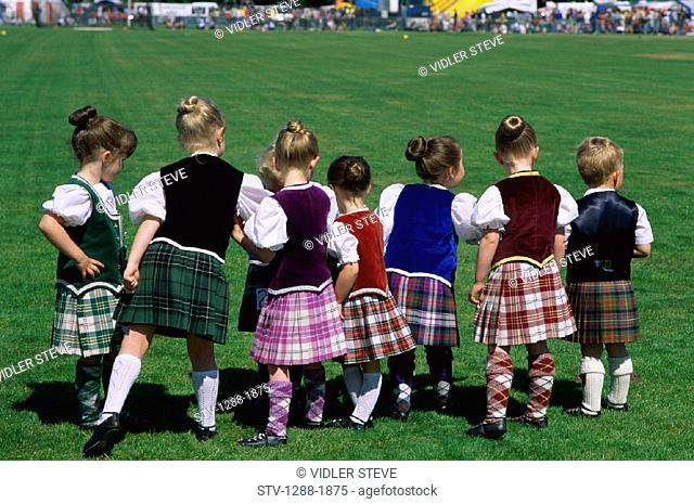 Caucasian, Children, Clans, Festival, Group, Holiday, Kilts, Landmark, Plaid, Scotland, United Kingdom, Great Britain, Spectator
