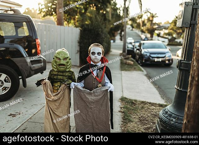 Young siblings dressed in Halloween costumes during Trick-or-Treat