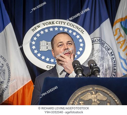 New York City Council Speaker and Acting Public Advocate Corey Johnson and members of the New York City Council hold a news conference on Wednesday, February 13