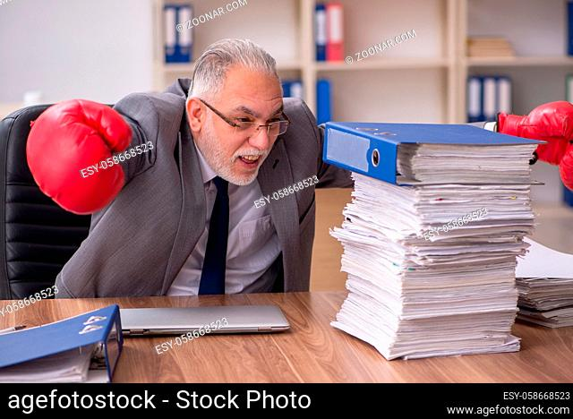 Old male employee wearing boxing gloves in the office