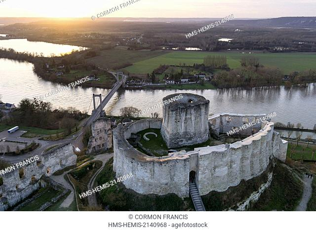 France, Eure, Les Andelys, Chateau Gaillard, 12th century fortress built by Richard Coeur de Lion, new look after several years of renovation