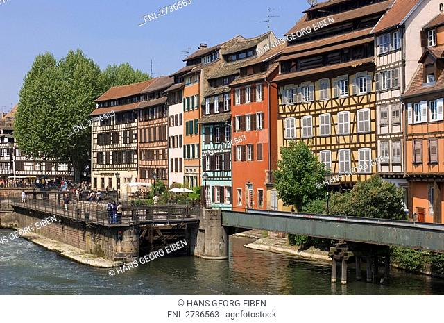 Timber framed houses near bridge, Strasbourg, Germany