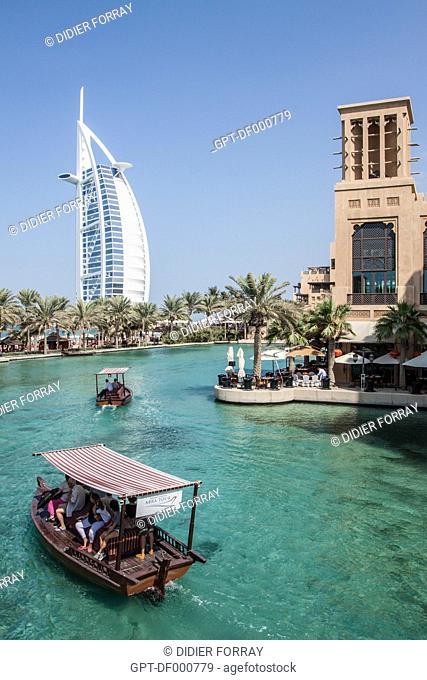 VIEW OF THE HOTEL BURJ AL ARAB FROM THE HOTEL MADINAT JUMEIRAH, DUBAI, UNITED ARAB EMIRATES, MIDDLE EAST