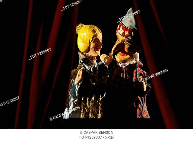 Punch and Judy from the classic puppet show performing a scene