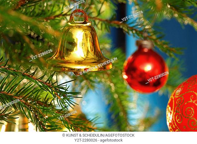 A golden bell is hanging on the Christmas tree