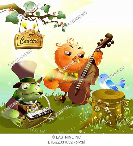 Chicken and a frog with a sparrow performing in a concert
