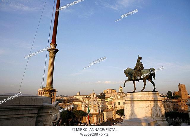 Monument to Vittorio Emanuele II in Venezia Square, Rome. Lazio, Italy
