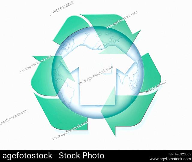 Earth with t-shirt and recycling symbol, illustration
