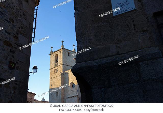 Caceres St. Marys cathedral from Cuesta del Marques street. Extremadura, Spain