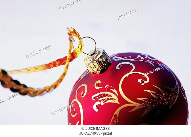 Detail view of a Christmas ornament