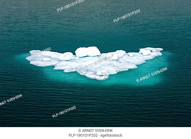 Ice floe floating in Arctic Ocean near Spitsbergen / Svalbard