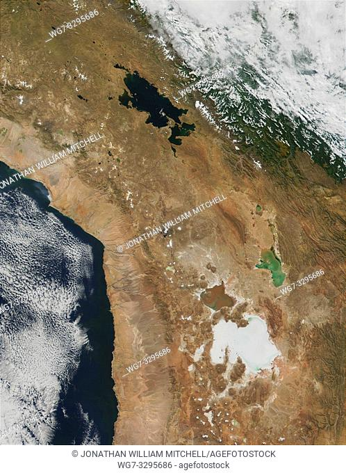 EARTH Peru -- 28 May 2001 -- This MODIS true-color image of parts of Peru (upper left), Bolivia (right) and Chile shows Lake Titicaca in the upper center of the...
