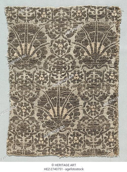 Silk Fragment, 1350-1399. Creator: Unknown