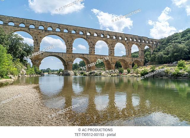 Pont du Gard over Gardon River in Vers-Pont-du-Gard, France