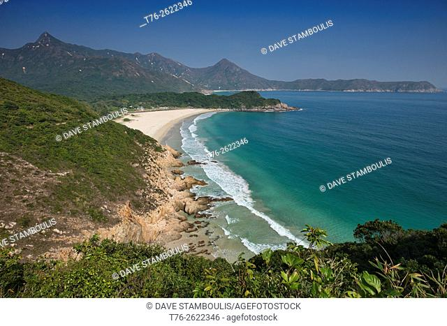 Beautiful Ham Tin Wan beach, seen from the MacLehose Trail, Hong Kong