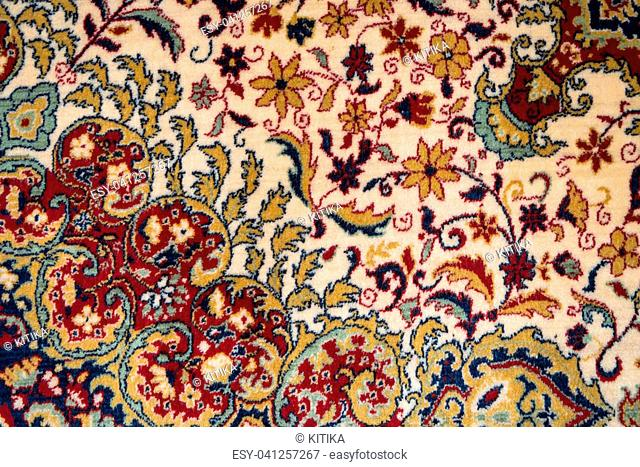 Red and white Persian Carpet Texture Flowers