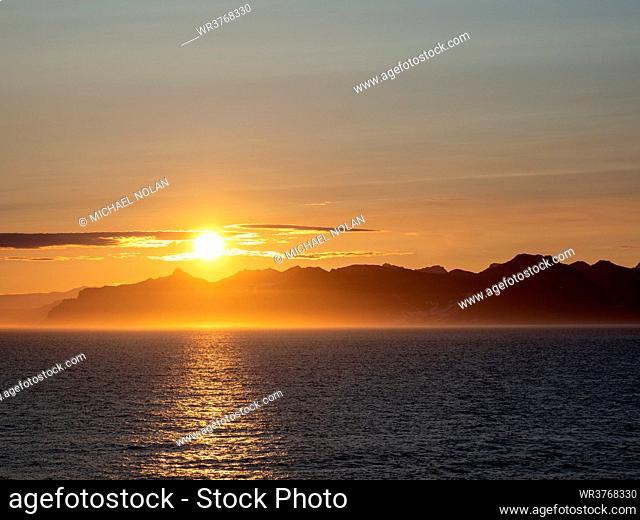 Sunset off the east coast of Greenland, Polar Regions