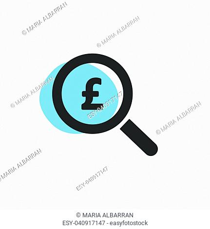 Magnifying glass looking for pounds isolated web icon. Vector illustration