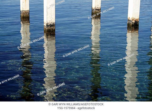 pier legs struts in sea