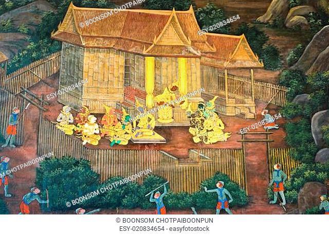 Traditional Thai paintings of Ramayana epic in Wat Phra Kaew (Public Domain), Bangkok, Thailand