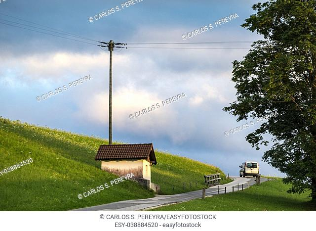 Rural road in the Alps in Austria Europe