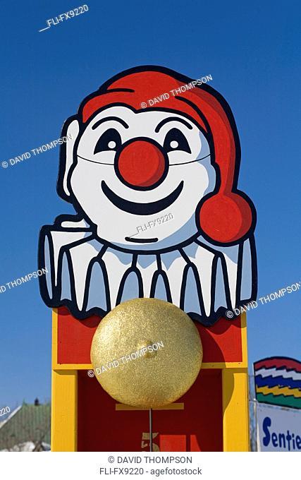 Clown Figure Against Blue Sky, Quebec Winter Carnival, Plains of Abraham, Quebec City, Quebec