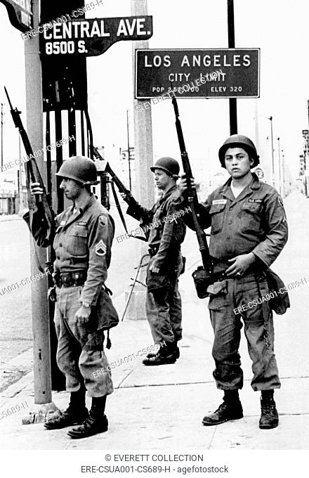 National Guardsmen at a Los Angeles City Limits. As the 1965 Watts Riots subsided, National Guardsmen still stand by until recalled by Gov