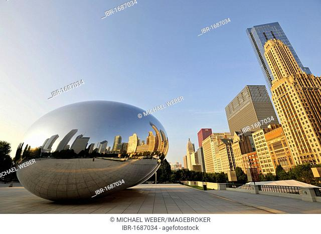 Chicago skyline being reflected on the surface of the Cloud Gate sculpture, nicknamed The Bean, created by Anish Kapoor, Legacy at Millennium Park Building